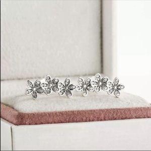 Diamond accent pave budding flowers vine .925K